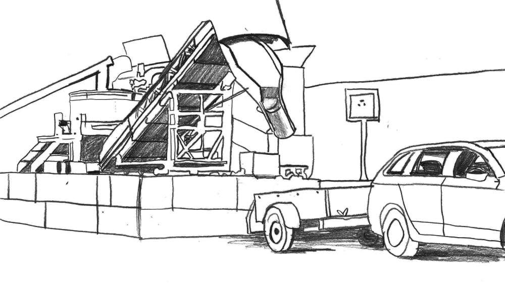 2. Fahrzeug einfahren - Positionieren Sie Ihr Fahrzeug unter das Ende des Förderbandes.
