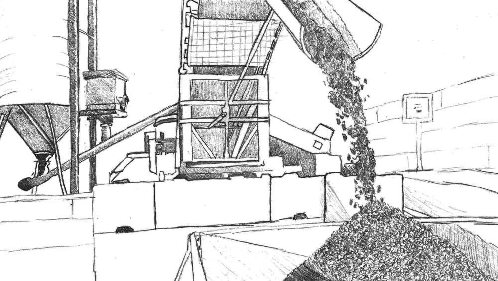 4. Beton tanken - Anschließend wird der ausgewählte Beton gemischt und über das Förderband auf Ihr Fahrzeug geladen.